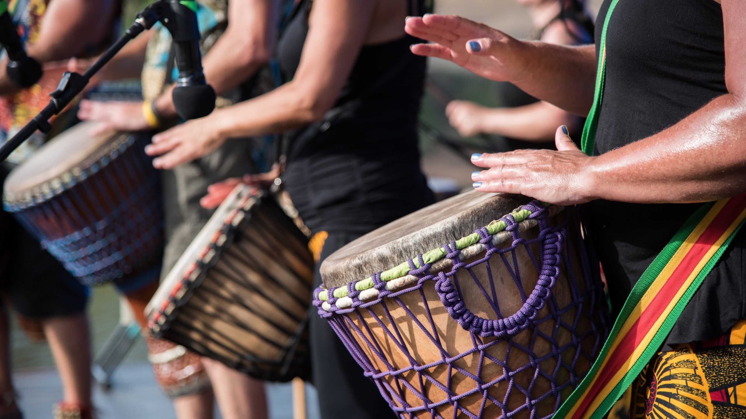 Earthen Rhythms, a local african drumming group at the Summertime in Maitland, NSW, Australia celebration.