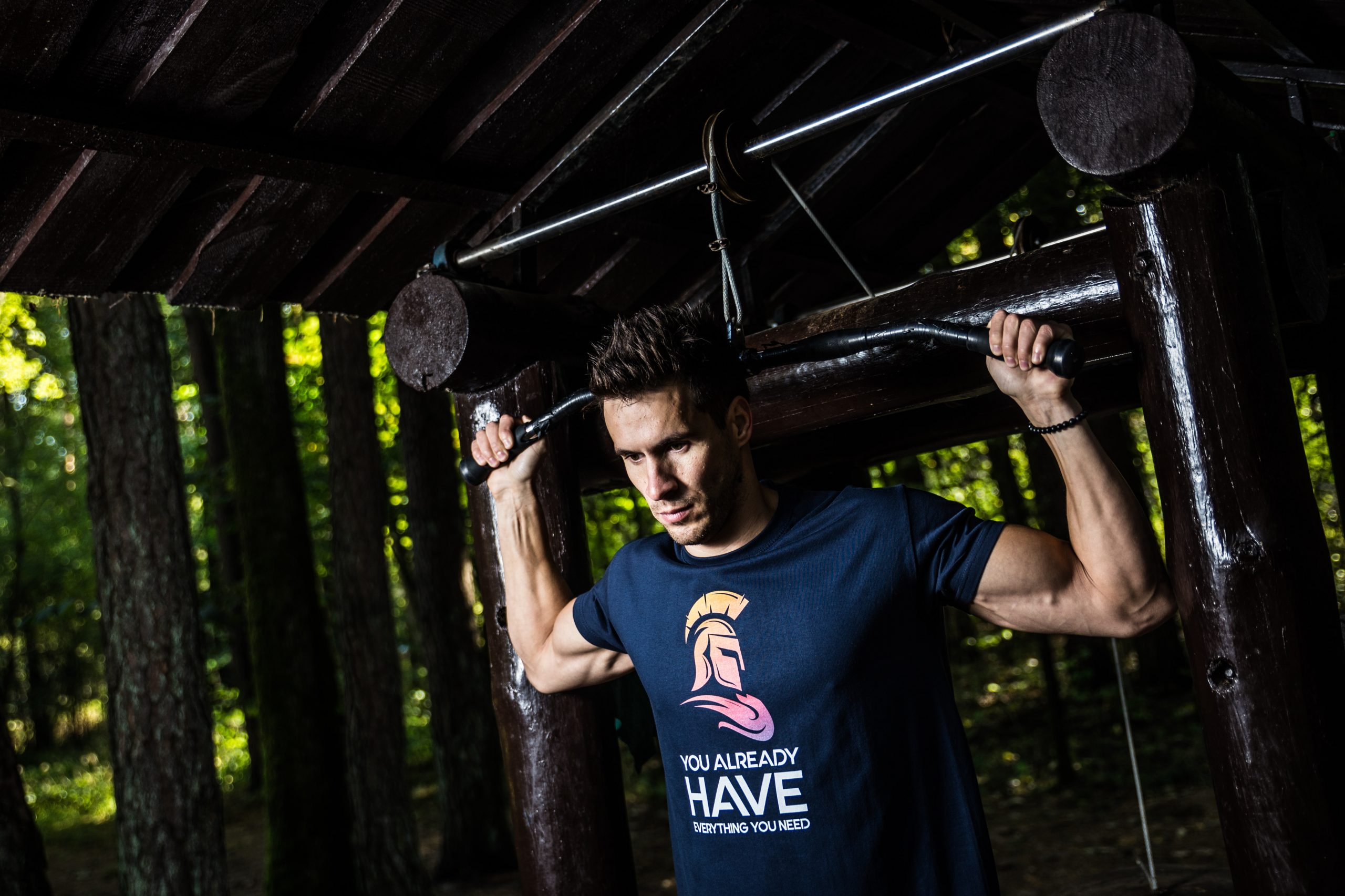 """One more photo from photoshoot of """"SPARTANS 1.0"""" - new men's t-shirt collection. """"Frame Kings"""" brand created unique design t-shirt collection for men. Values of our collection is discipline, superb physical condition, determination, courage and constant self-development. So we decided to show this values through street workout."""