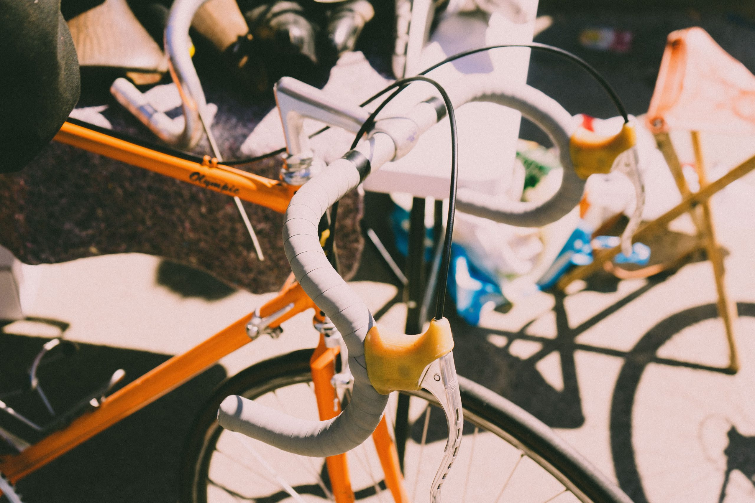 orange and white commuter bike