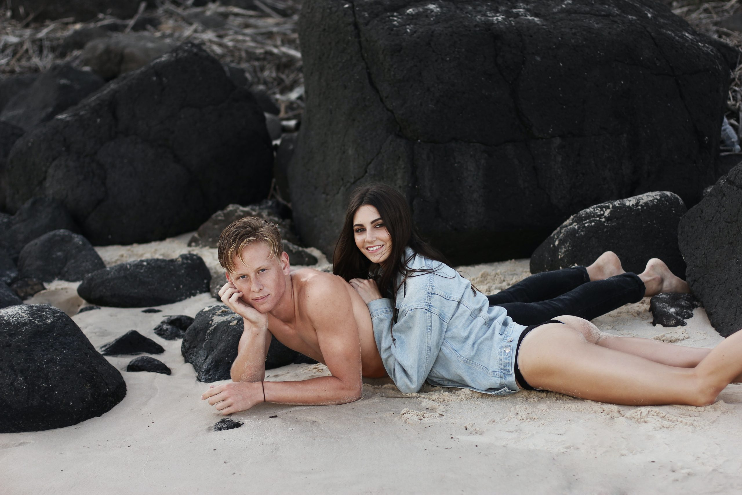 While during this shoot with Cassidy and Janiv, Cassidy's denim jacket was stolen other beachgoers just after this shot. She still smiled the rest of the time. :)