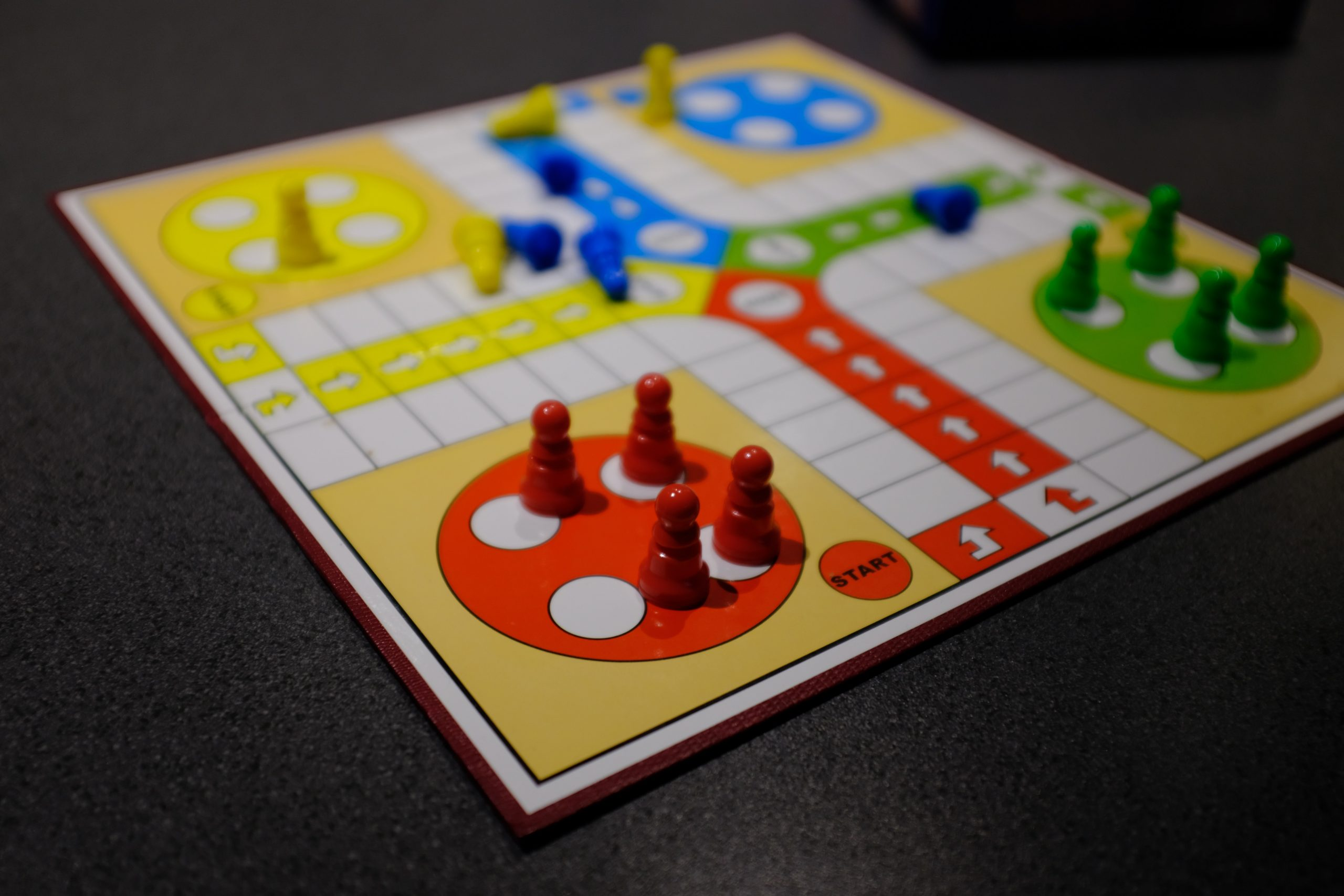 white red yellow and blue game board